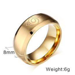 Wholesale 8mm Cartoons - Titanium Steel Men Jewelry Fashion Rings Cartoon Naruto Logo Simple Accessories Gold 8mm Size 6-13