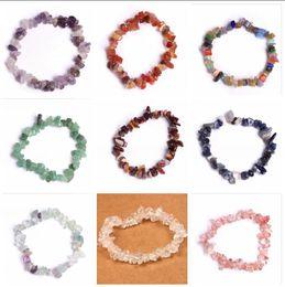 Wholesale Crystal Chip Bracelets - 7 Chakra bracelets for women 15 colors Healing Crystals Natural Stone Chips Single Strand Women Bracelets Lazuli Reiki Bracelets For Women