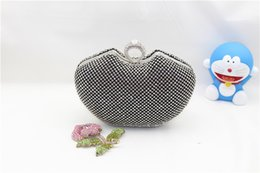 Wholesale Locked Ring Box - Luxury shiny beading embellish heart box day clutch crystal ring shoulder bag mini women party bag wedding evening bag031114-3N