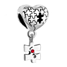 Wholesale Puzzle Bead - Valentines Day jewelry metal puzzle heart love European style dangle bead infant lucky charms Fits Pandora charm bracelet