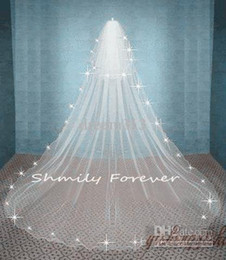 Wholesale Wedding Cathedral Veils Crystals - New Amazing TOP Crystal Free Shipping Stunning White Ivory Wedding Veil 2 Tier Cathedral Bridal Veils Bride Long Veil With Comb High Quality