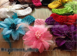Wholesale Toddler Crochet Headband - 18%OFF Hair bows 10pcs lot Wholesale toddler baby girl Clips 3.5inch feather flowers with hair crochet headband Hair Accessories