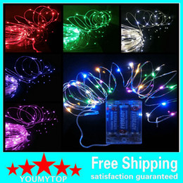 Wholesale Copper Wire String Lights Wholesale - AA Battery Power Operated LED Copper Silver Wire Fairy Lights String 50Leds 5M Christmas Xmas Home Party Decoration Seed Lamp Outdoor