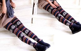 Wholesale Cashmere Leggings Women - 2014 cheapest Factory price Lady Leggings Imitation cashmere Snowflakes fawn tights women Ninth pants 24 designs 90cm for Christmas