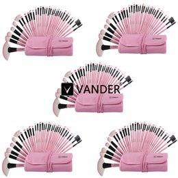 32 rosa make-up pinsel set online-5 Sätze Vander Pink 32 stücke Professionelle Make-Up Pinsel Set Kosmetik Augenbrauen Schatten Pulver Tools Kit mit Tasche für Frauen Schönheit