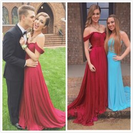 Wholesale Drak Blue Prom Dresses - New Arrival 2015 Sexy Drak Red Off Shoulder Long Prom Dresses Sweetheart Capped Pleats Prom Gowns Formal Evening Party Dresses