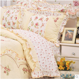 Wholesale Full Bedskirt - Wholesale-2015 new Ladies genuine Korean lovely princess 100% cotton bedding set Sweet Love Pastoral Style Ruffles bedskirt