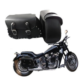 Wholesale Leather Studded Black Bag - 2 x universal Black faux Leather Motorcycle Saddlebags Saddle Bags Left & Right Pouch studded accents double buckles
