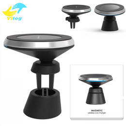 Wholesale Magnetic Wireless Iphone Charger - 2 in 1 Qi Fast Wireless Charger Magnetic Phone Holder Stand For Samsung S6 S7 edge S8 Plus note8 Iphone 8 plus X Universal Charger