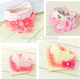 Wholesale Cute Baby Feeding - Cute Cotton Baby Bibs Towel Toddler Newborn Triangle Scarf Girls Feeding Smock Infant bibs Burp Cloths