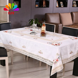 Wholesale Handmade Crocheted Tablecloths - TLFE Home & Garden Handmade Crochet Lace Embroidery Tablecloth for Weddings Table Cloth Cover Rectangular toalha de mesa ZB033