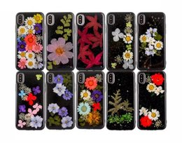 Wholesale Dried Petals - Women's Pretty Genuine Dried Flowers DIY Case Black TPU Soft Handmade Natural Petal cover for iphone X