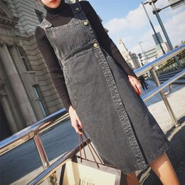 Wholesale Wholesale New Modern Dress Design - Korea purchasing new fall and winter clothes before modern design Street beat split denim strap dress dress sense
