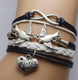 Wholesale Sideways Bracelet Charms - DHL Friendship Infinity Bracelets Love Bird Sister Sideways Charm Infinity Leather Wrap Wristband Girls Christmas Gift for Women