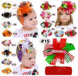 Wholesale Feathers Hair Design - XMAS Holloween Christmas bow headband clips baby girls cany color big bow feather headband Design Hair bowknot Children Headwear 15colors