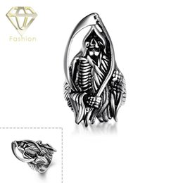 Wholesale Skull Ring Ancient - Top Quality 316L Stainless Steel Titanium Skull Rings Handsome Skeleto Retro Ruby Ring Ancient Mayan Male Jewelry Halloween Gift