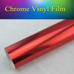 Wholesale Chrome Red Wrap Car Film - stretchble & pigment stable chrome vinyl car wrap sticker sheet mirror Red 1.52x20m(5x65ft) free shipping