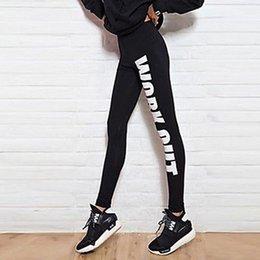 Wholesale White Cotton Lycra Leggings - Women's Slim Leggings New Stylish Femininas Cotton Letter Printed High Waist Fitness Pants Casual Trousers Pants 8 Colors