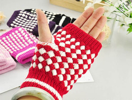 Wholesale Wholesale Pineapple Halfs - Wholesale-Wholesale 600pcs lot pineapple Decorative Half Computer Gloves Crochet Knit Winter Warm Gloves Gift For Christmas Free Shipping
