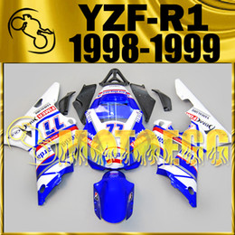 Wholesale Yamaha Blue - Motoegg Aftermarket Injection Mold Fairing For Yamaha YZFR1 YZF-R1 YZF R1 1998 1999 98 99 Blue White Y18M31+5 Free Gifts