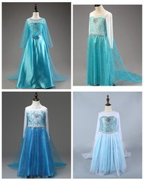 Wholesale Dotted Cape - Polka dots girls elsa dress 2016 new frozen girl cosplay dresses children custom clothes kids long skirts with cape birthday party wear
