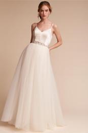 elástico de cetim vestido de bola vestidos de noiva Desconto Vestido de baile Vestido de novia pregas de tule saia de cetim elástico brilhante espumante Sash até o chão vestidos de noiva Vestidos de casamento