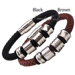 Wholesale Mens Leather Bracelets Magnetic Clasp - Wholesale-Mens Boys Black Brown Leather Bracelet Braided Rope Bead Charm Wristband w Stainless Steel Magnetic Clasp Wholesale Gift LBW86