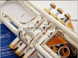 Wholesale Bach Tr - Professional TR-197GS Bach Trumpet Silver Plate Pipe Body Gold-Plated Key Carved Bb Trumpet Drop Adjustable Trompete Instrument