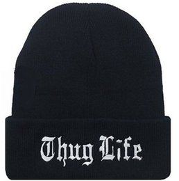 Wholesale Thug Life Knitted Hats - Fashion Brand Married to the Mob The Thug Life Beanie Hat Football Skullies Cap Wool Winter Knitted Caps For Man And Women