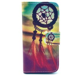 Wholesale Tribe Flip Cover - Wholesale-Wallet Style Flip Case with Anchor Stripe Aztec Tribal Tribe Cartoon Print For iphone 5 5S 5G Stand PU Leather Cell Phone Cover