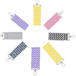Wholesale Multi Keychain - 20pcs Chevron Lipstick Chapstick Holder Keychain Lip Bag Colors Monogram Multi Chevron Key FOB Lip Palm Holder Free shipping