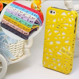 Wholesale Iphone 4s Nest Case - HEE:Magic Hot!3D Hollow Back Cover Cell Phone Case For iPhone 4 iPhone 4S iPhone4 4S Shell Bird Nest Snap 1PC Drop Shipping NN55