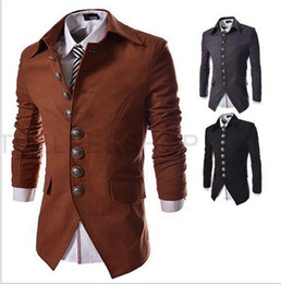 Wholesale Long Sleeved Blazer - New Arrival Mens Blazer Jacket Multi-button Design Men's Casual Slim Fit Suit Jacket Free Shipping 3 Colors puls size free shipping