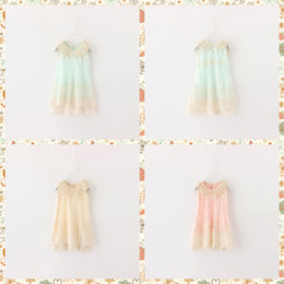 Wholesale Girls Lace Collar - 2016 Spring Kids Girls Party Dress Princess Lace Pearls Collar Sleeveless Summer Dress Multi Color Dress 5pcs lot Wholesale