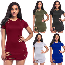 Wholesale Hot Night Club Clothes - K8152 fast selling hot run volume sexy dress European and American irregular hole clothes night clothes