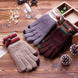 Wholesale Crochet Mitten Boys - Wholesale-Men's Winter Gloves Touch Screen Full Finger Wrist Solid with Fastener Guantes Cotton Boys' Thicken Woolen Crochet Mittens