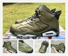 Wholesale Man Jacket Fabric - 100% brand new Air Retro 6 Flight Jacket Saturday Night Live Army Green men basketball shoes sports sneakers VI trainers size 7-13