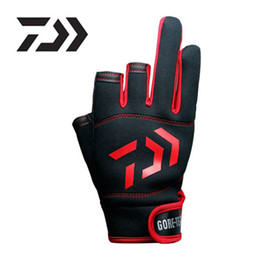 Wholesale golf gloves red - DAIWA Cut Three Fingers Fishing Glove Anti Slip Leather Outdoor Sports glove Slip-resistant Fishing Gloves