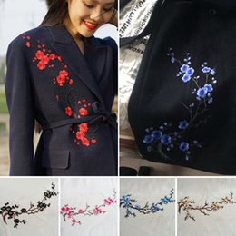 Wholesale iron appliques flowers - Beautiful DIY Embroidery Plum Flower Applique Iron On Patch for Clothing Sticker Garment Accessories Free Shipping YR0048