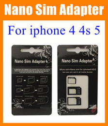 Wholesale Dual Sim For Iphone 4s - Nano Sim Adapter Micro SIM Nano Sim for iphone 4 4s iphone 5 dual Sim card tray holder R-sim + nano sim adapter + micro sim adapter OTH023