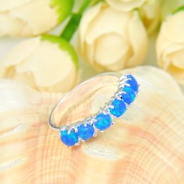 Wholesale Opal Mothers Ring - Newest 3 Pieces 1 lot Mother Gift Full Round Sky Blue Fore Opal Crystal Russia 925 Sterling Silver Plated USA Weddiing Party Ring