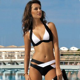 Wholesale sexy push up bikinis - New Women White Black Bandage Bikini Set Push Up Halter Top Swimwear Ladies Striped Floral Print Bikinis Sexy Beachwear CCF0226