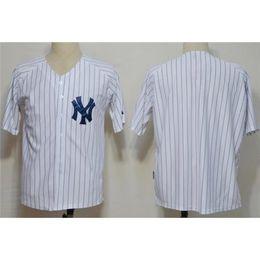 Wholesale Blank Baseball Shirts - Hot Sale Yankees Baseball Jerseys Blank White Pinstraped Baseball Shirts Brand Sports Team Uniforms Discount Athletic Jerseys for Men