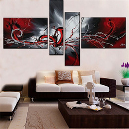 Wholesale Landscape Oil Painting For Canvas - 100%Handpainted The phoenix totem oil painting 4 pcs   set decoration oil painting abstract wall Pictures For Living Room decor