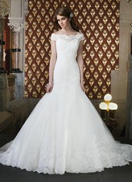 Wholesale Sexy Alencon Lace Wedding Dress - 2016 Fashion Off the Shoulder neckline Alencon lace With Tulle Mermaid hem lace Skirt chapel length train Wedding Bridal Dresses