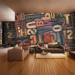 Wholesale Room Letters Decor - 3D Giant Photo Wallpaper Letter Number Wall Mural Personality wallpaper Bedroom Hallway room decor Sofa TV setting wall art Home Decoration