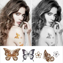 Wholesale Henna Stickers - 1 PCS Hot Flash Metallic Waterproof Temporary Tattoo Gold Silver Tatoo Women Henna Flower Taty Design Tattoo Sticker 10*6