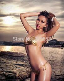 Wholesale Top Bra Pvc - w1023 Sexy Lingerie golden pvc bikini top bra+pant 2pcs set sleepwear underwear