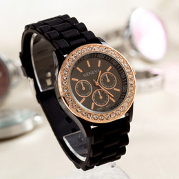 Wholesale Digital Silicone Watch Stone - Geneva Luxury Watch Silicone Golden Crystal Stone Quartz Ladies Women Girl Jelly Wrist Watch Candy Colors
