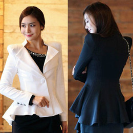 Wholesale Wool Winter White Coats Women - Ladies Black Suit Blazer One Button Shrug Shoulder Women winter Jackets Coat Double Collars Basic Jackets Plus size Swallowtail S M L XL
